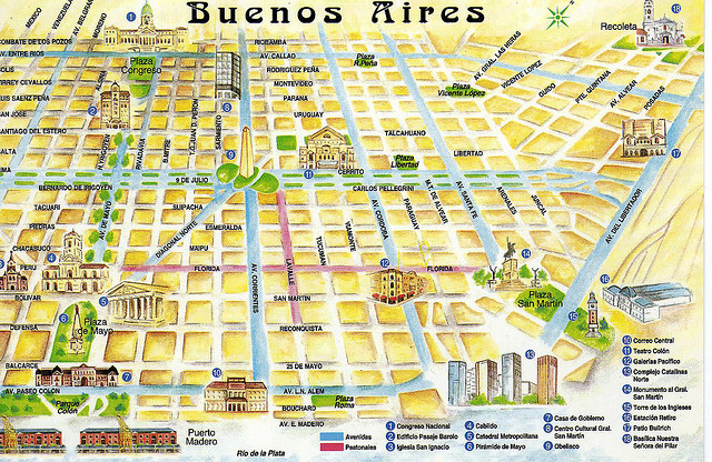 Map of Buenos Aires, Argentina